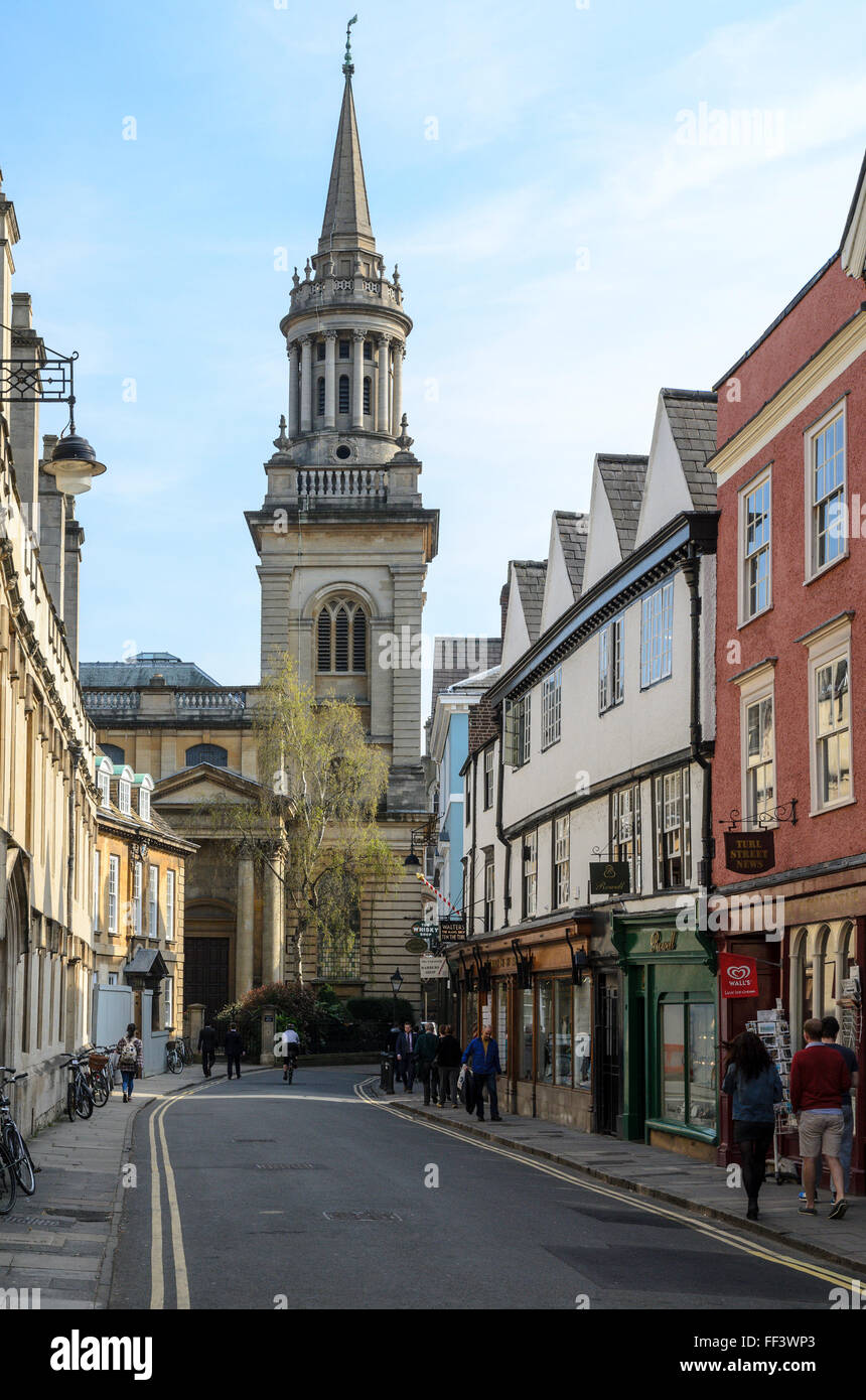 Historic Turl Street in Oxford City Centre, Oxfordshire, England, U.K. Stock Photo
