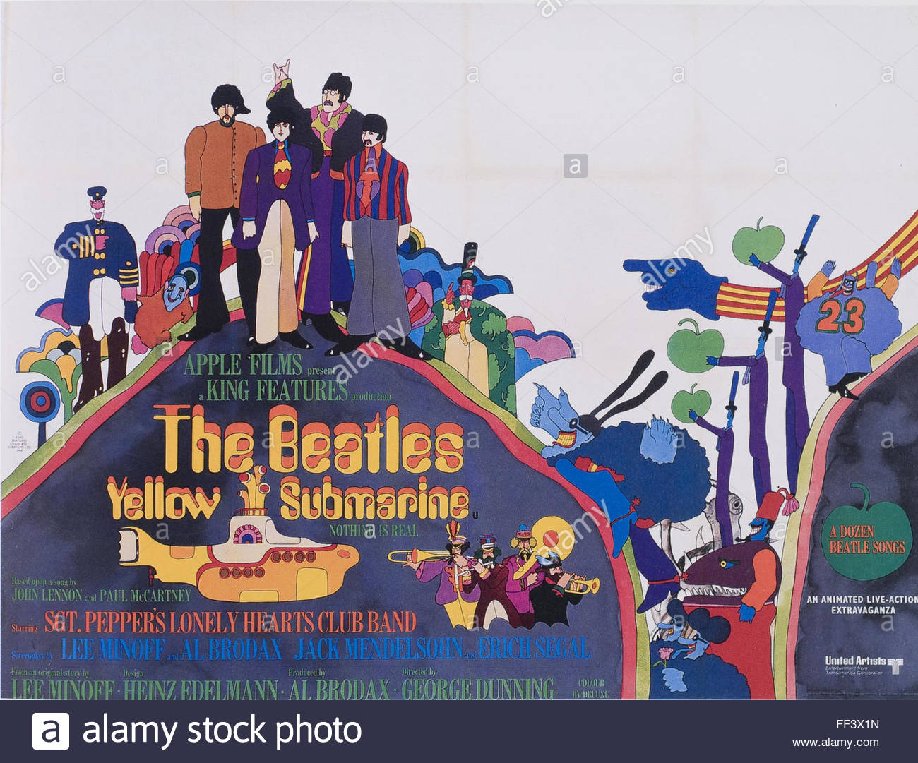The Beatles - Yellow Submarine - Movie Poster - Stock Image