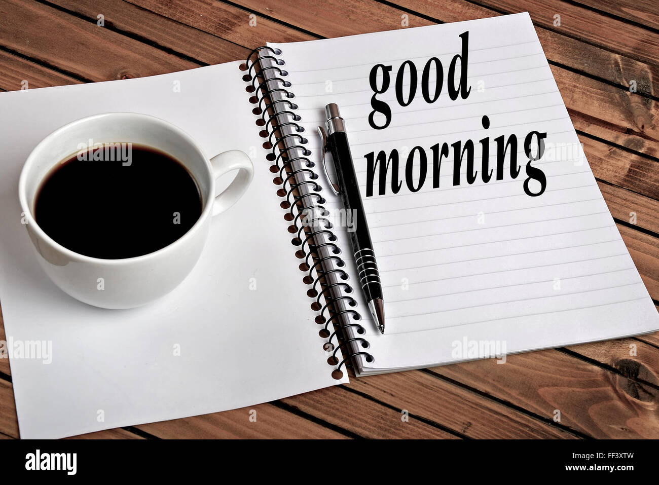 Good morning word on notepad - Stock Image
