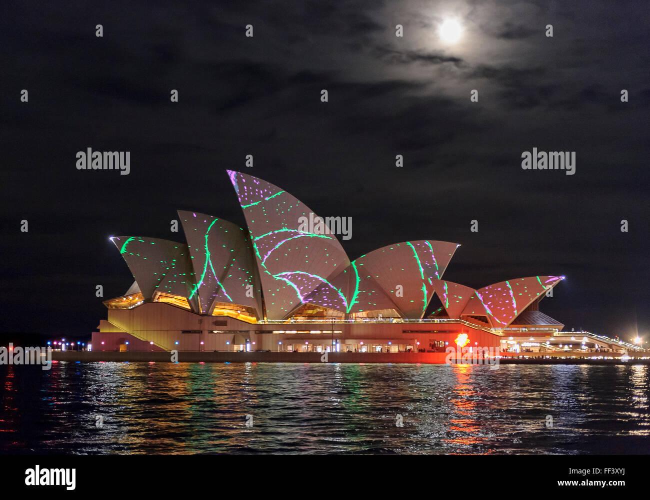 Sydney Opera House, Sydney Vivid Festival,Circular Quay, Sydney, New South Wales, Australia. - Stock Image