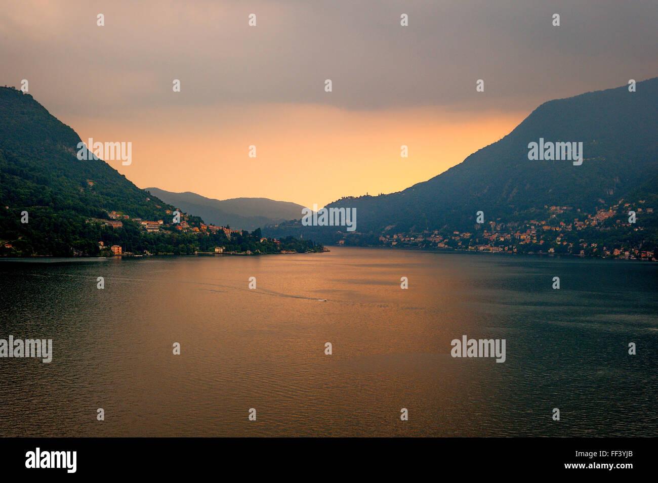 Looking over Lake Como from Centro Turistico la Cava. - Stock Image