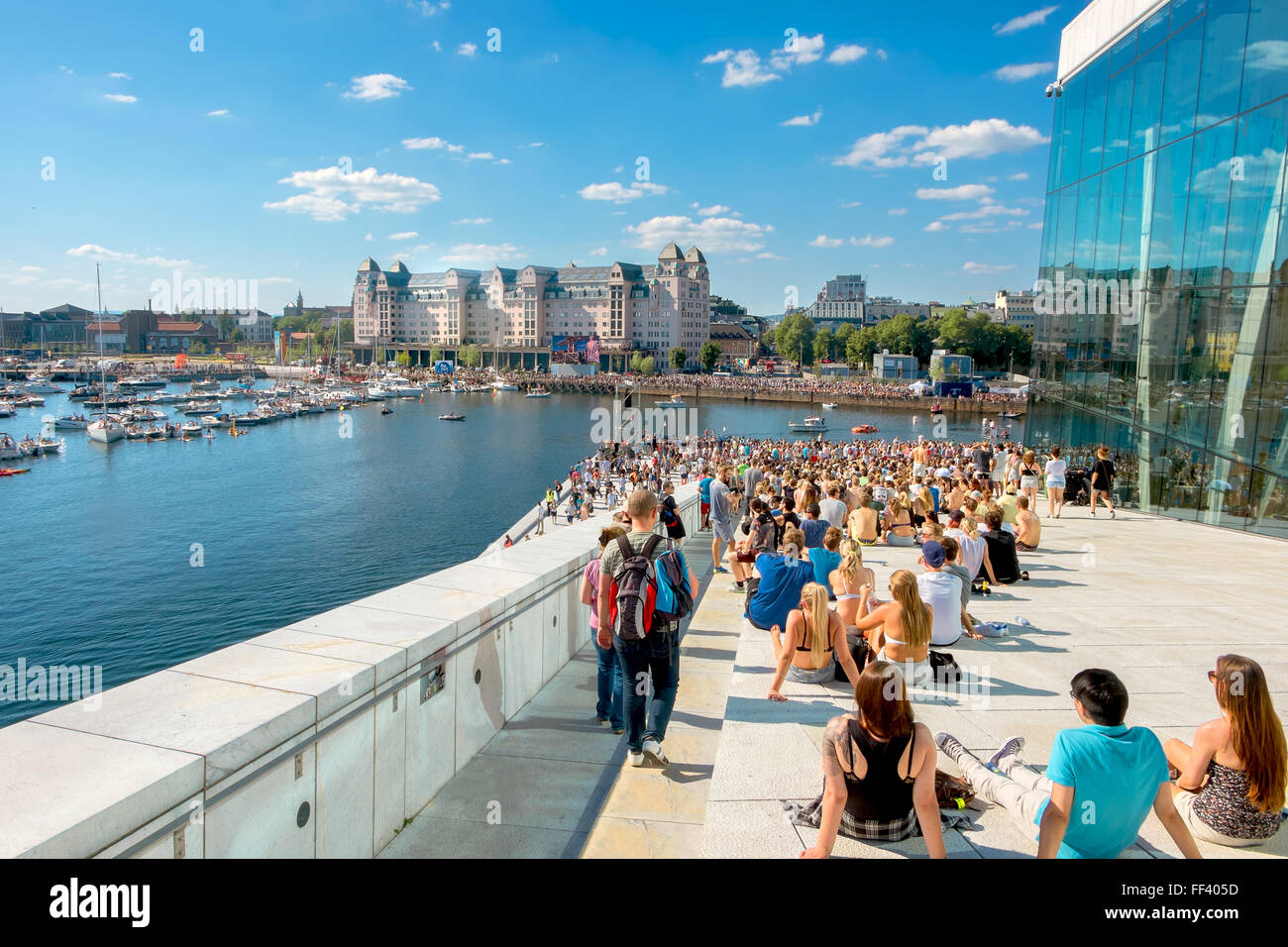 NORWAY, OSLO - AUGUST23,2015: CRAZY FLIGHT DAY ' RED BULL FLUGTAG 2015'. Many people attended Red Bull Flugtag. - Stock Image
