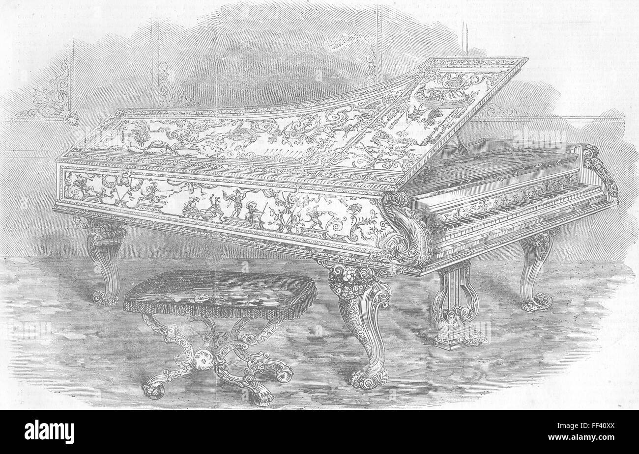 ROYALTY Pianoforte, manufactured for Queen 1856. Illustrated London News - Stock Image