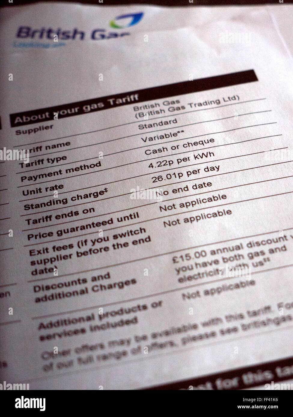 Gas and Electricity bill from British Gas Stock Photo: 95360810 - Alamy
