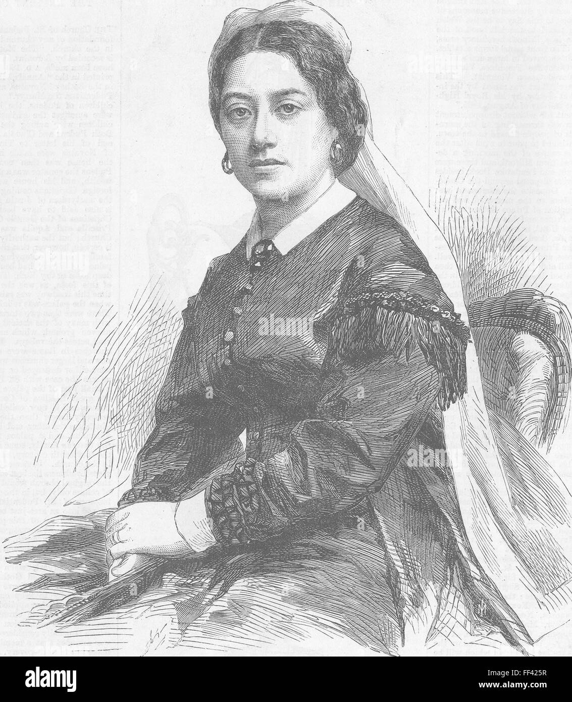 HAWAII Civil War Emma, Queen Dowager of 1865. Illustrated London News - Stock Image