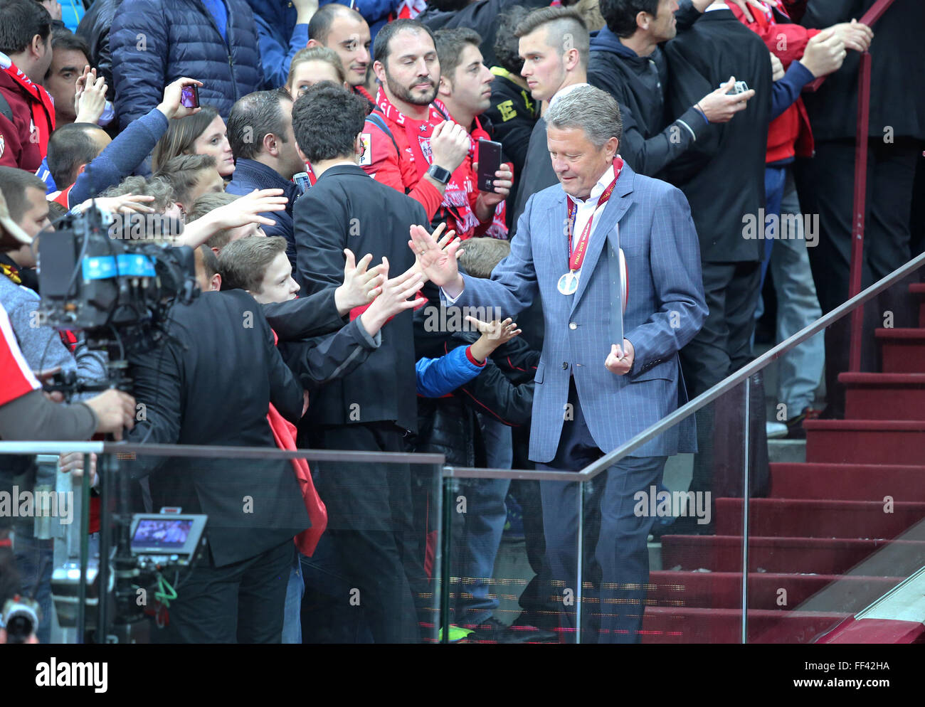 WARSAW, POLAND - MAY 27, 2015: Myron Markevych, head coach of FC Dnipro Dnipropetrovsk after the UEFA Europa League - Stock Image