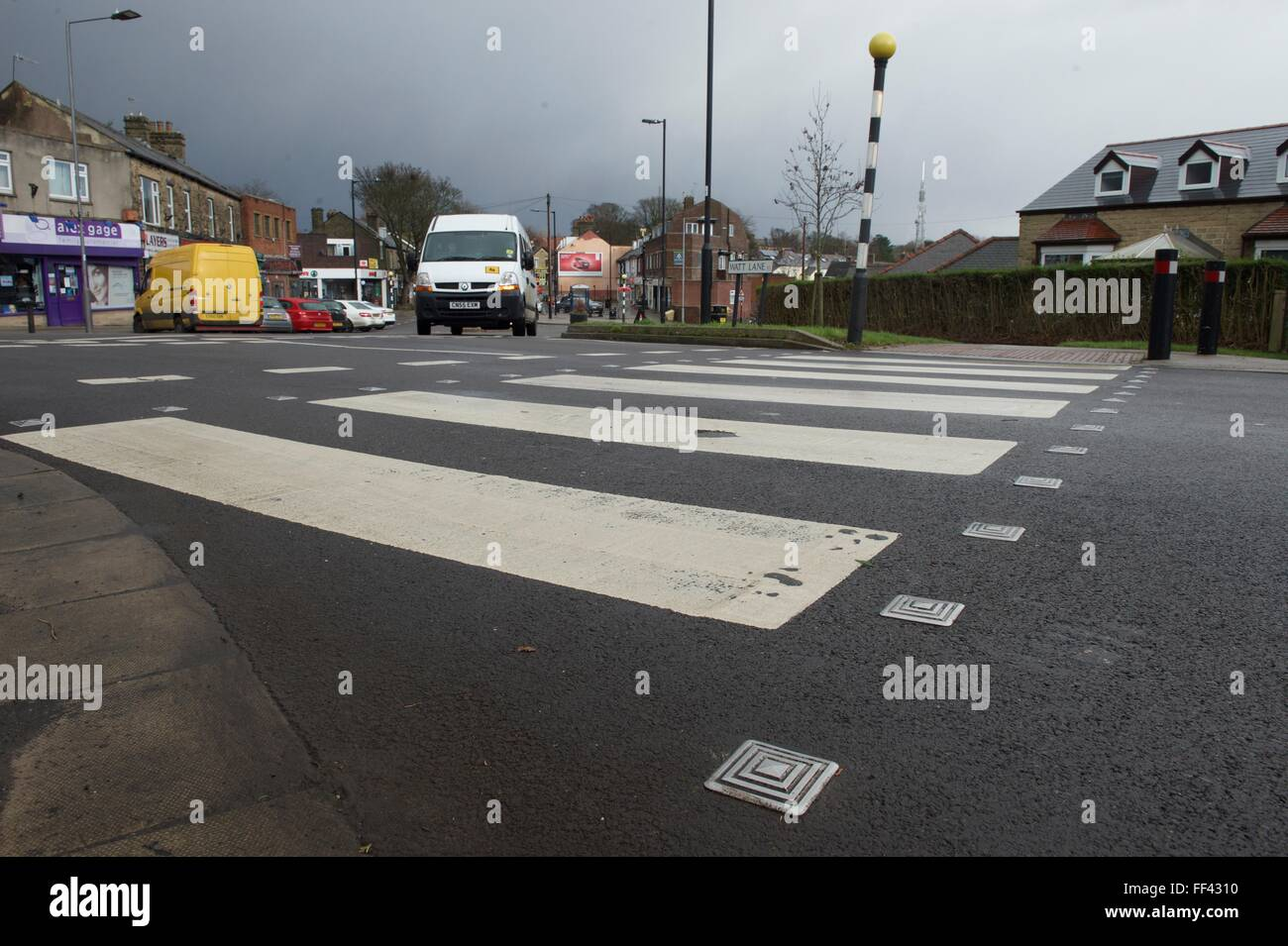 A Zebra crossing on a residential street in Sheffield South Yorkshire - Stock Image