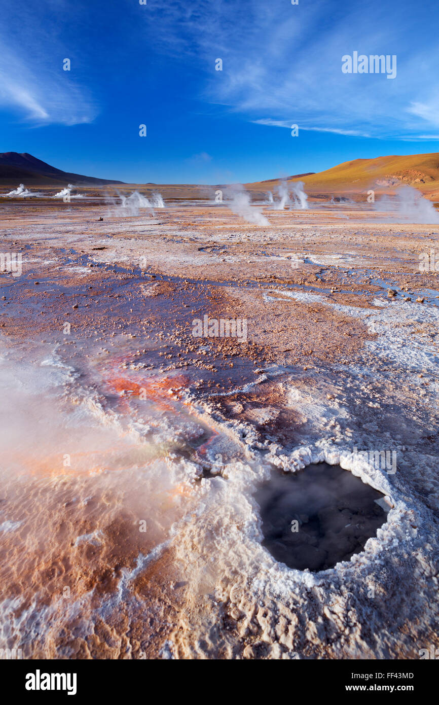 The El Tatio Geysers, high up in the Atacama Desert, northern Chile. - Stock Image