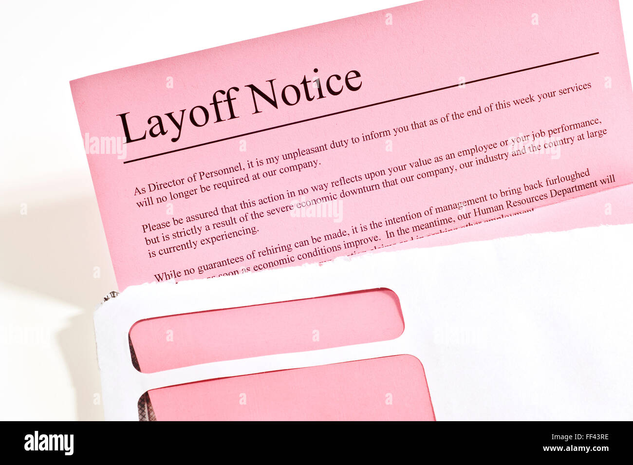 Layoff Notice - Stock Image