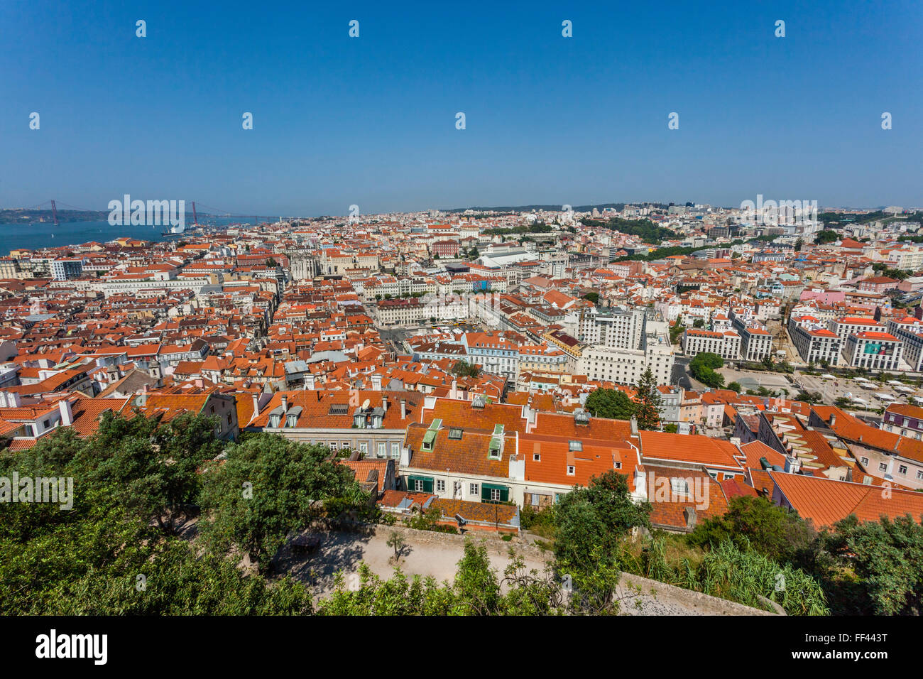 Portugal, Lisbon, view of the Baixa Pombaline, the Pombaline Downtown of Lisbon from Castelo Sao Jorge - Stock Image
