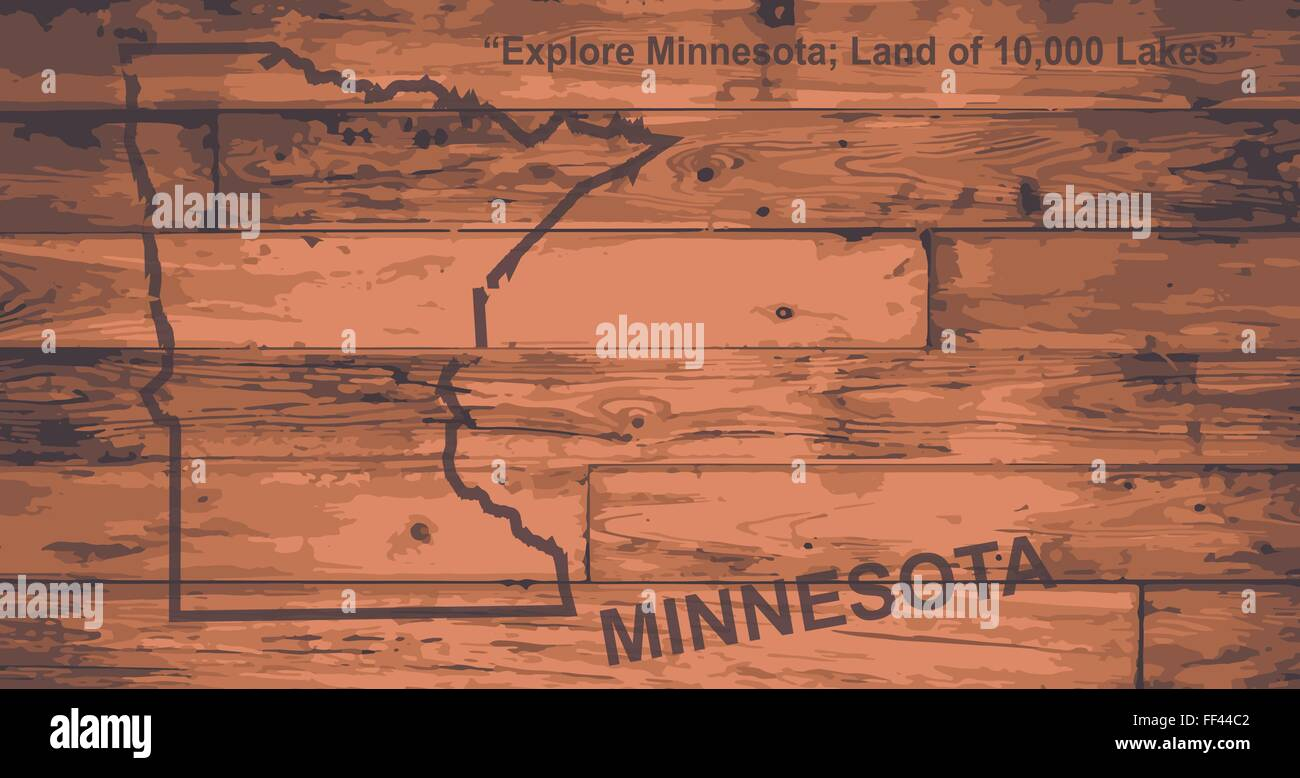 Minnesota State Map Brand On Wooden Boards With Map Outline And State Motto