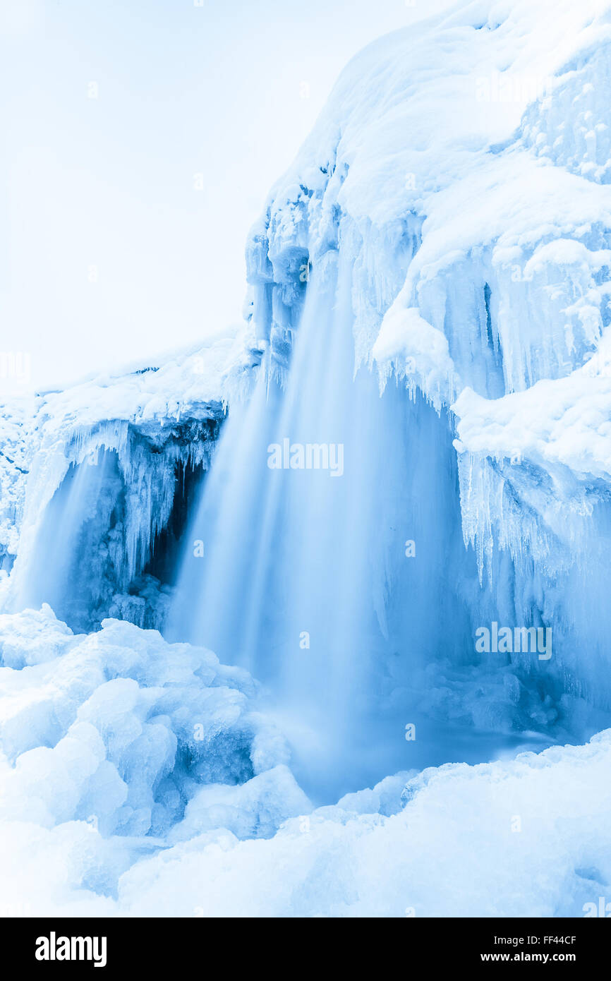 Frozen waterfall Jagala, Estonia - Stock Image