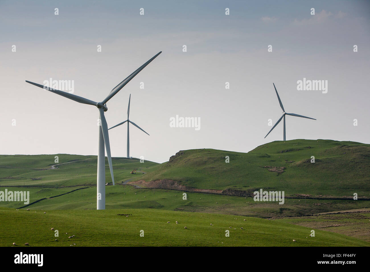 Hadyard hill wind farm in South Ayrshire has 52 wind turbines. It generates over 120MW of zero carbon electricity - Stock Image