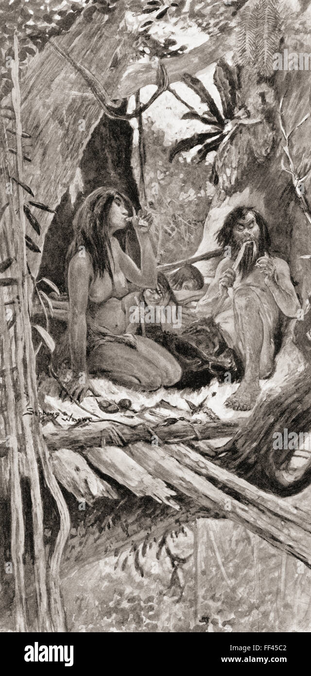 Prehistoric Chinese tree dwellers. - Stock Image