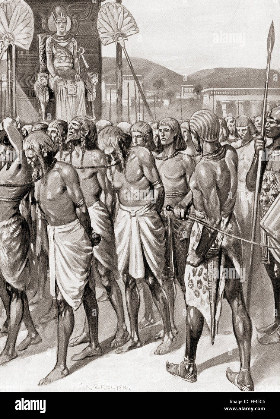 Captives before the Pharaoh. - Stock Image