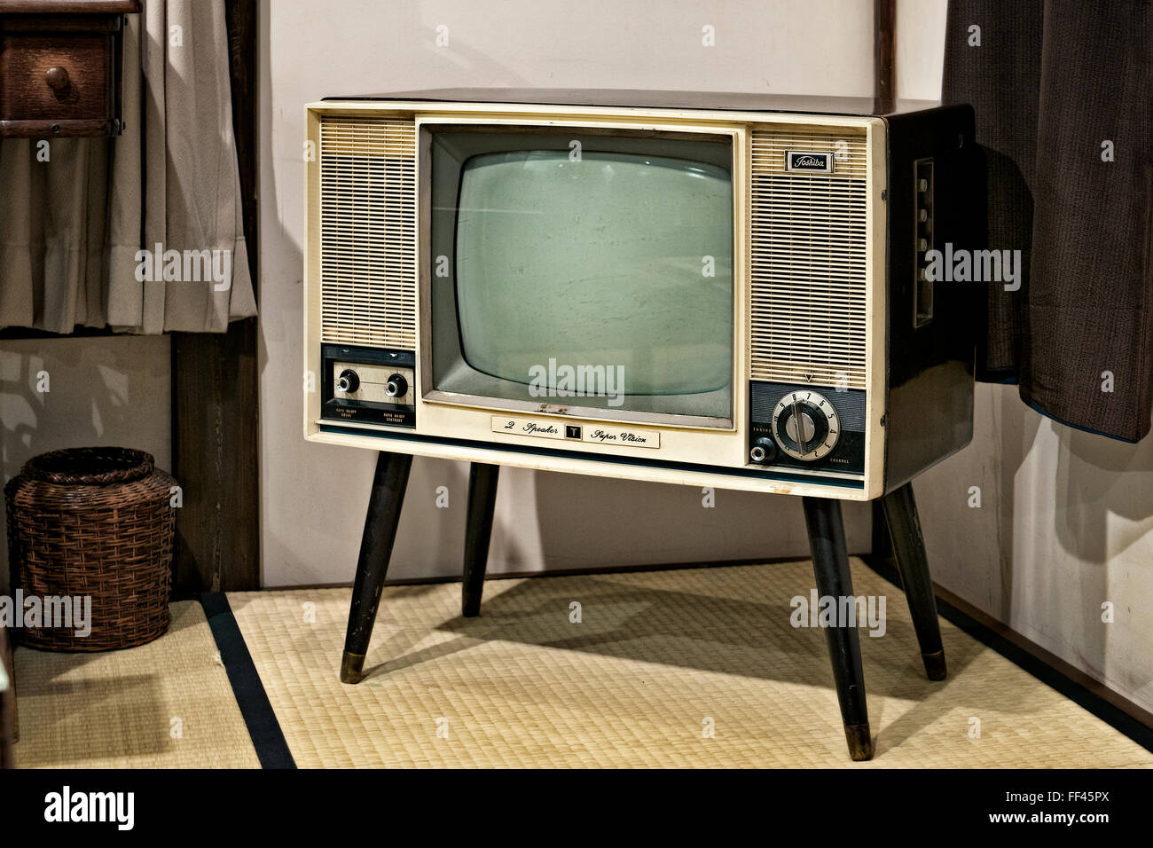 Japan, Honshu island, Kanto, Tokyo, Shitamachi museum, sixties Toshiba TV set. - Stock Image