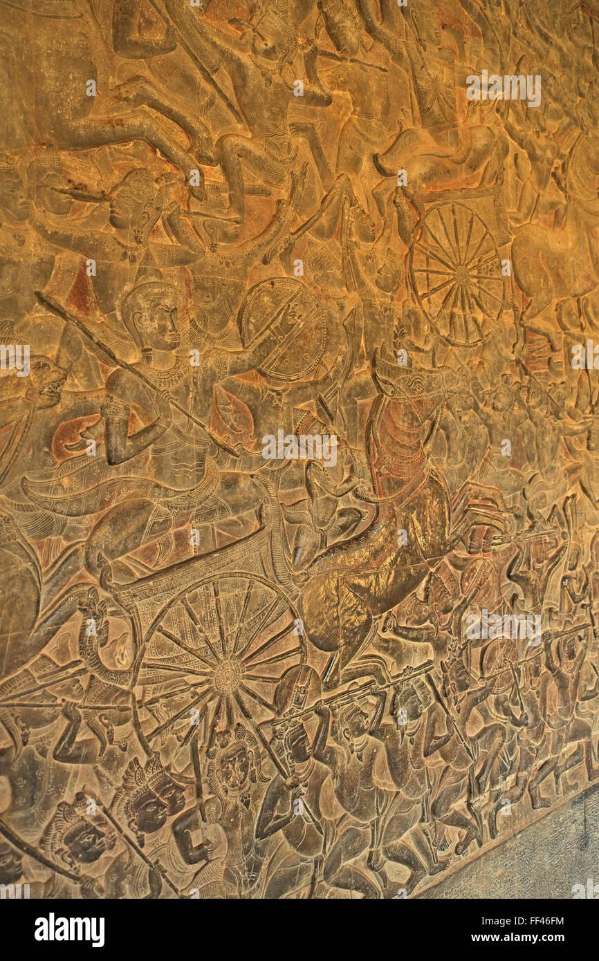 Battle of Kuruksheta (from the Hindu epic Mahabharata), western gallery, Angkor Wat, near Siem Reap, Cambodia, Asia. - Stock Image
