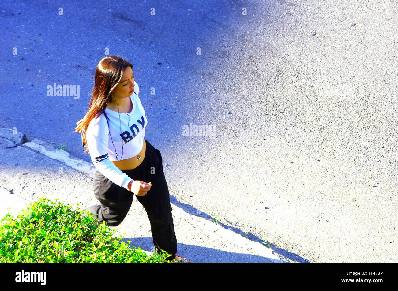Young woman morning excercise - Stock Image