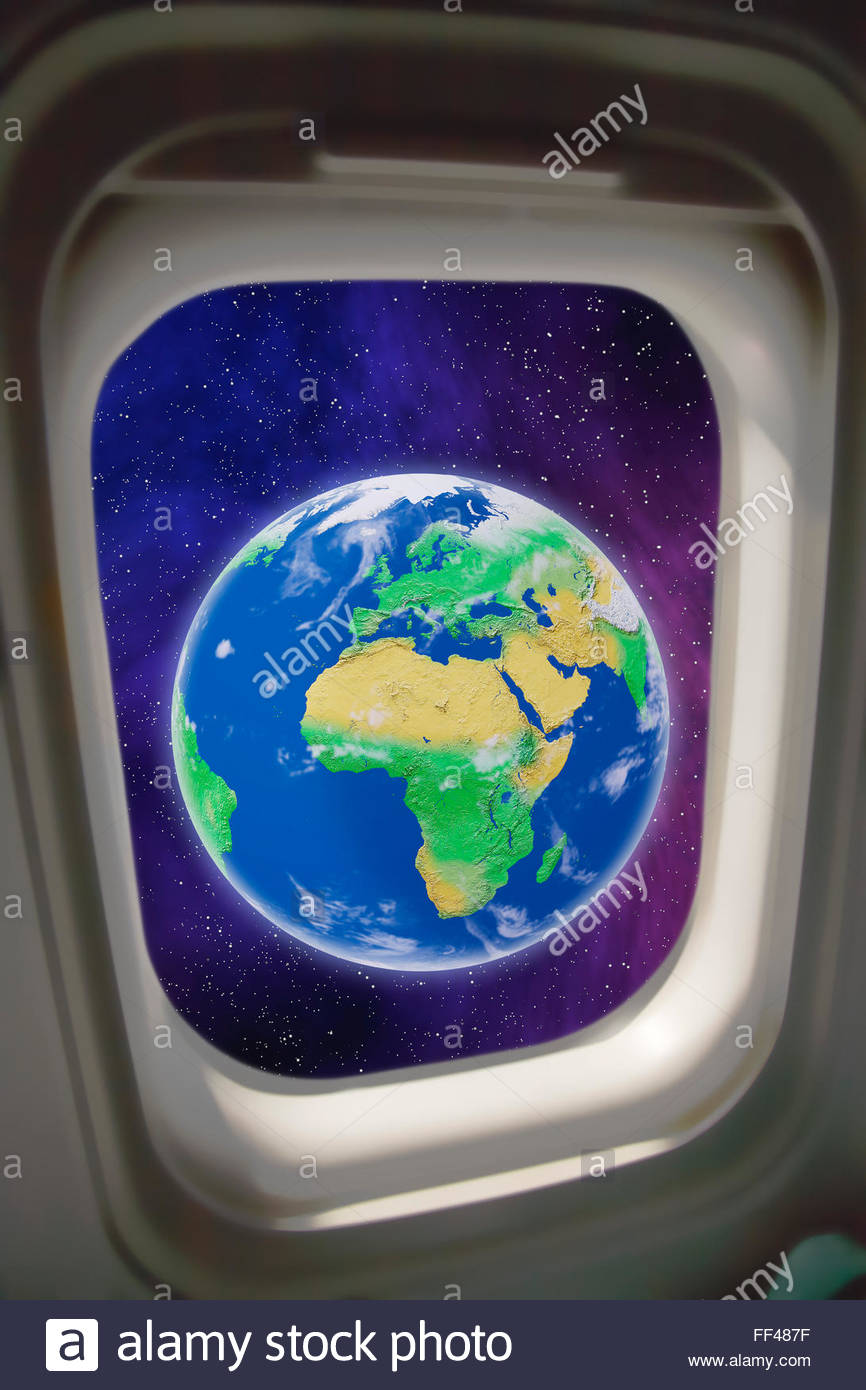 Concept of earth from the window of a commercial spaceflight space tourism world space flight travel future technology - Stock Image