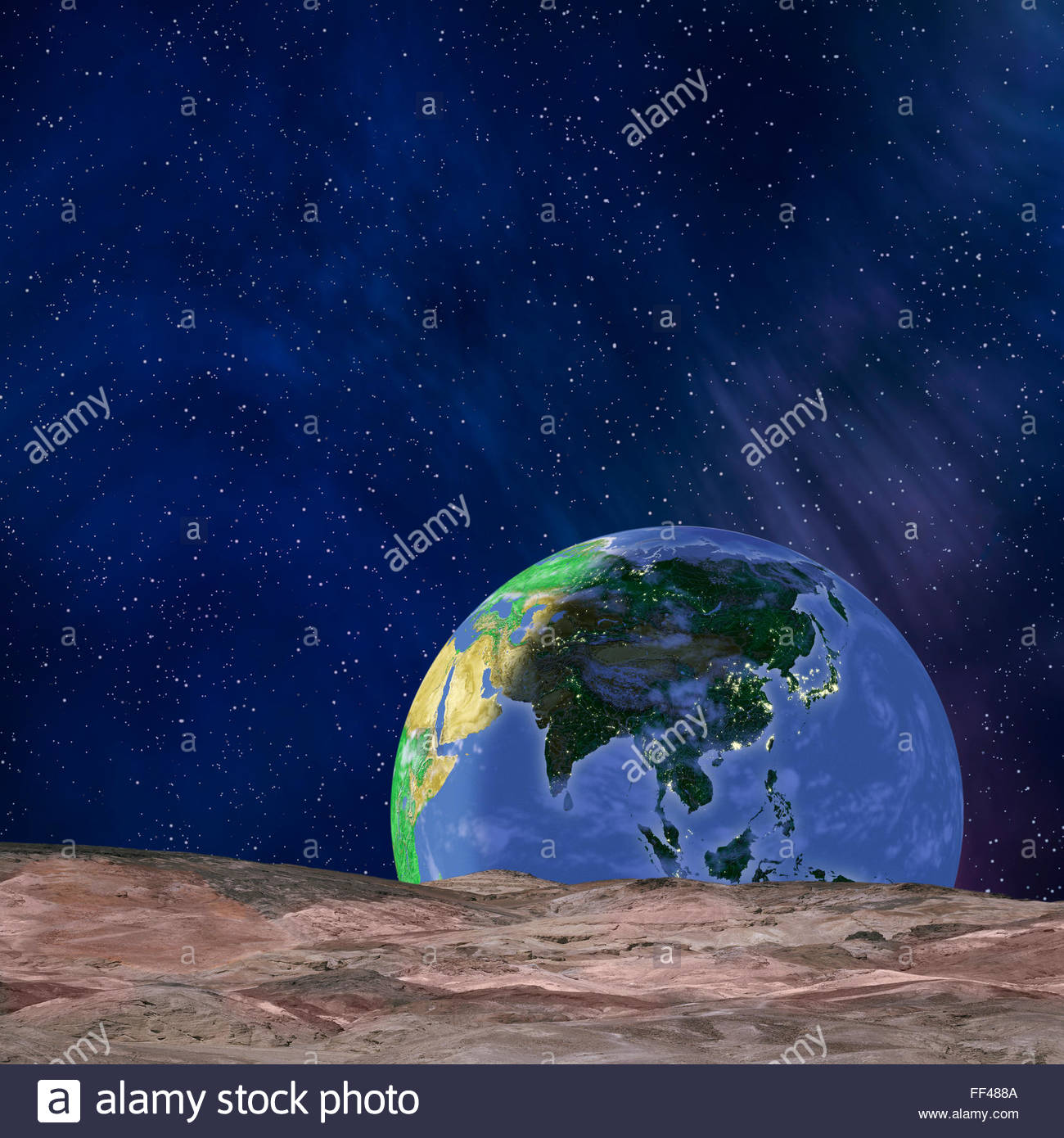 Simulation of earth rising from below the moon's horizon. Artist takes license with the science. earthrise moon - Stock Image