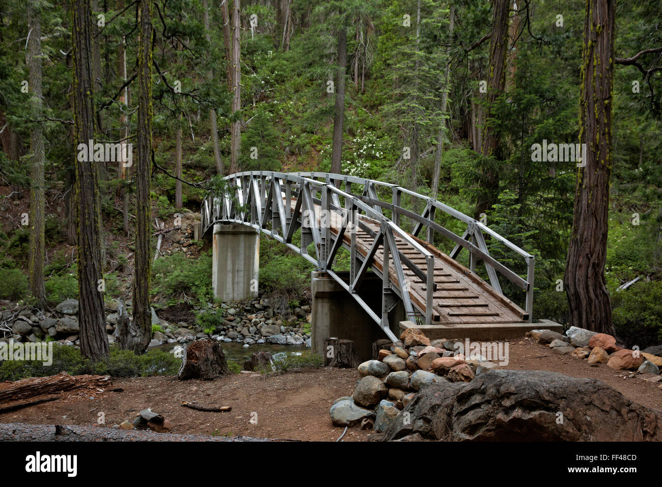 CA02787-00...CALIFORNIA - Bridge over Swift Creek on the Granite Creek Trail in the Trinity Alps Wilderness area. - Stock Image