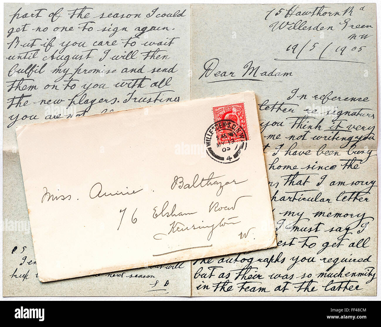 1905 British hand-written letter and envelope. - Stock Image