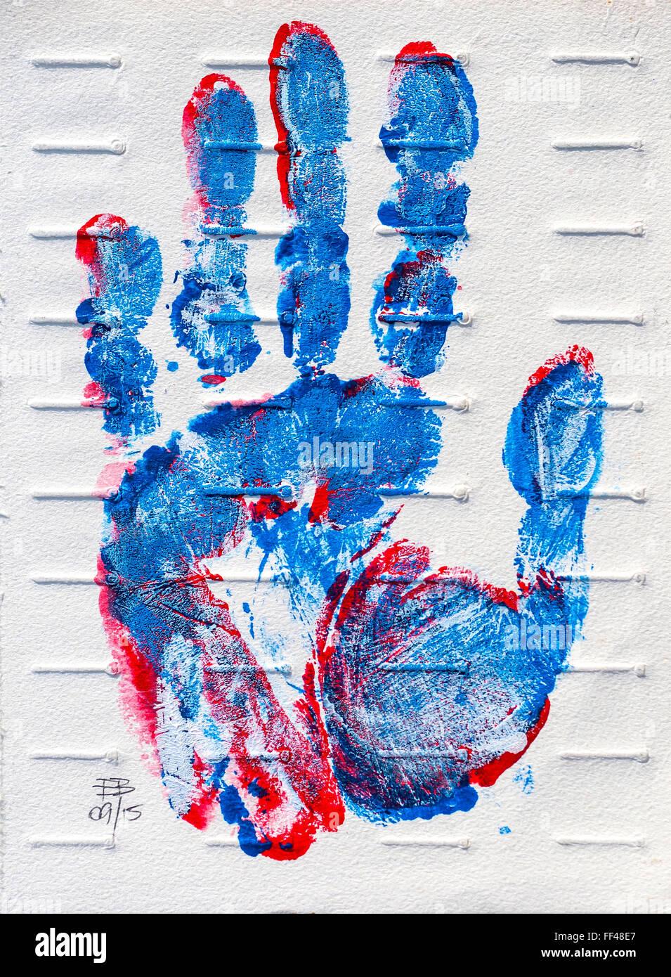 Hand print original rt, by Ed Buziak. - Stock Image