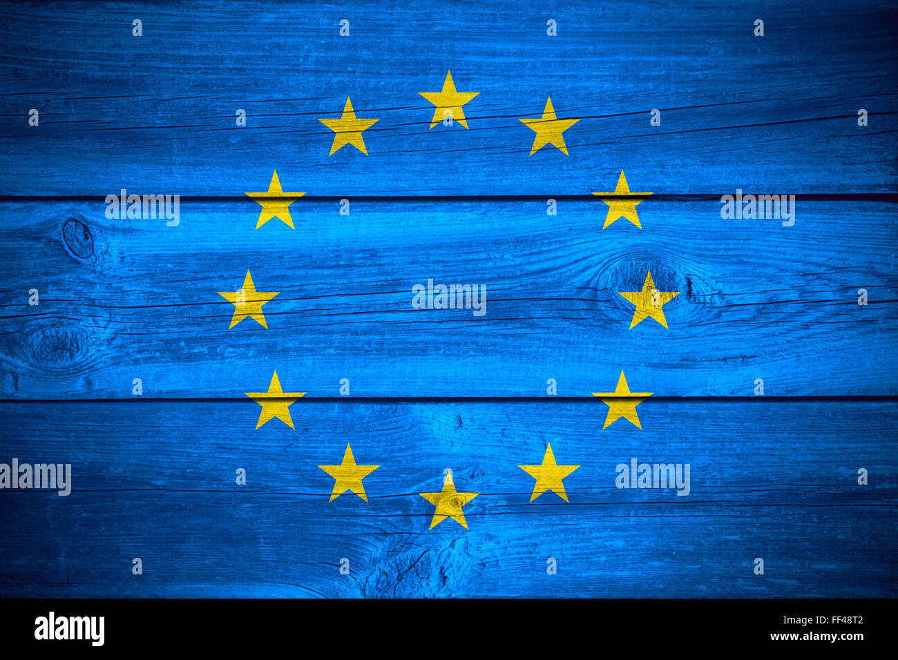 flag of European Union or banner on wooden background - Stock Image