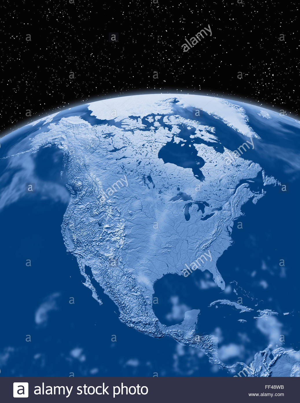 Earth from space north america stock photos earth from space north simulated satellite view of part of the earth from space north america world map space planet gumiabroncs Image collections