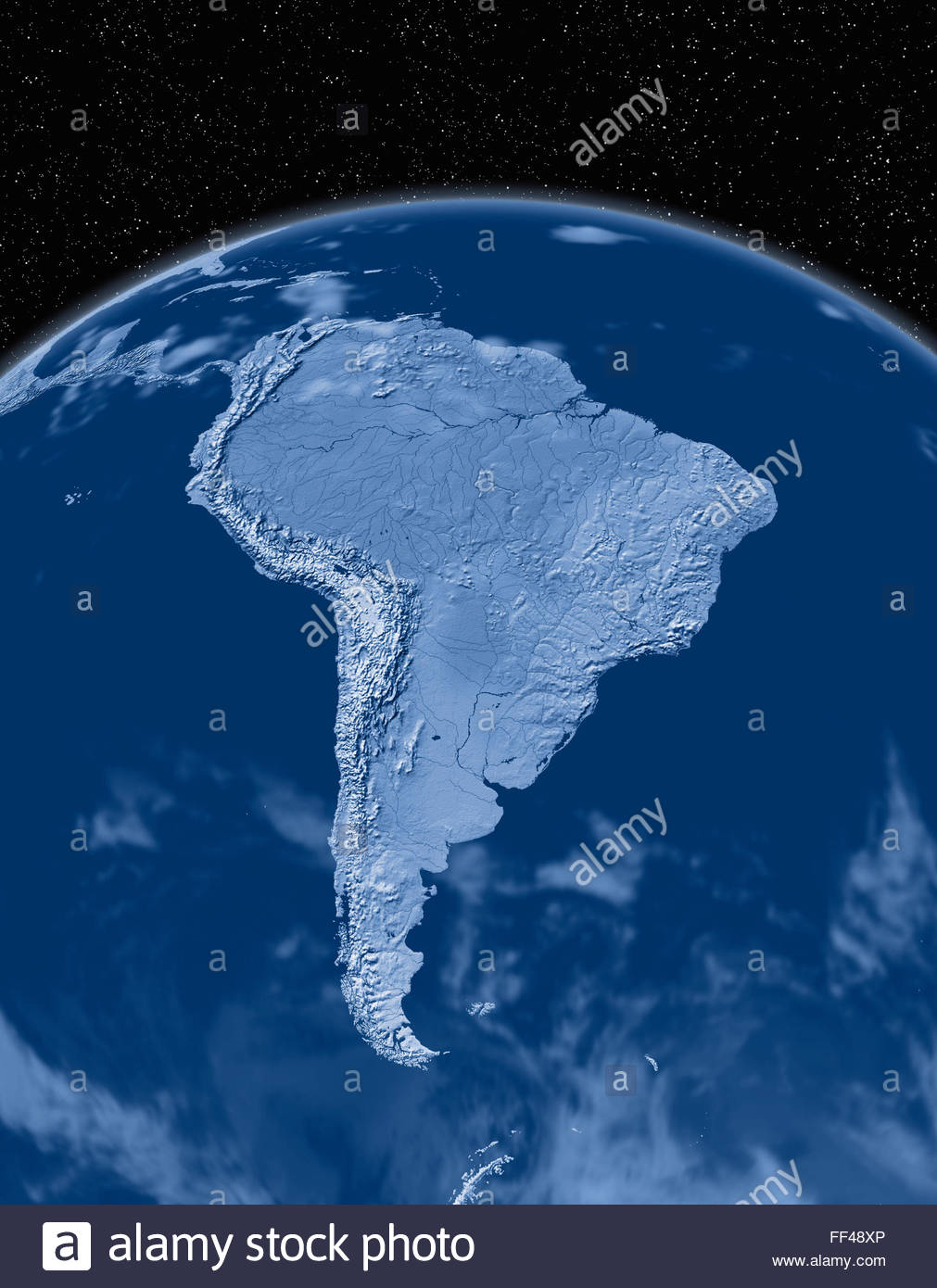 Simulated satellite view of part of the earth from space South America world map space planet globe terrain relief - Stock Image