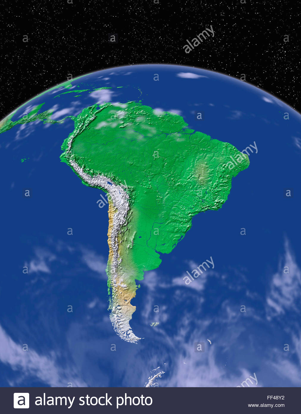 Simulated satellite view of part of the earth from space south stock simulated satellite view of part of the earth from space south america world map space planet globe terrain relief continent gumiabroncs Gallery