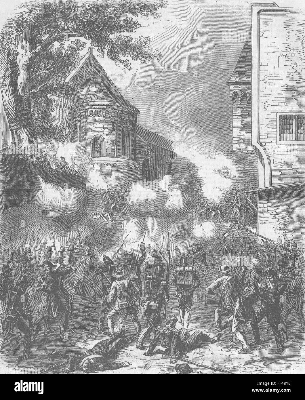 NEUCHÂTEL Republicans taking Ft from Royalists 1857. Illustrated Times - Stock Image