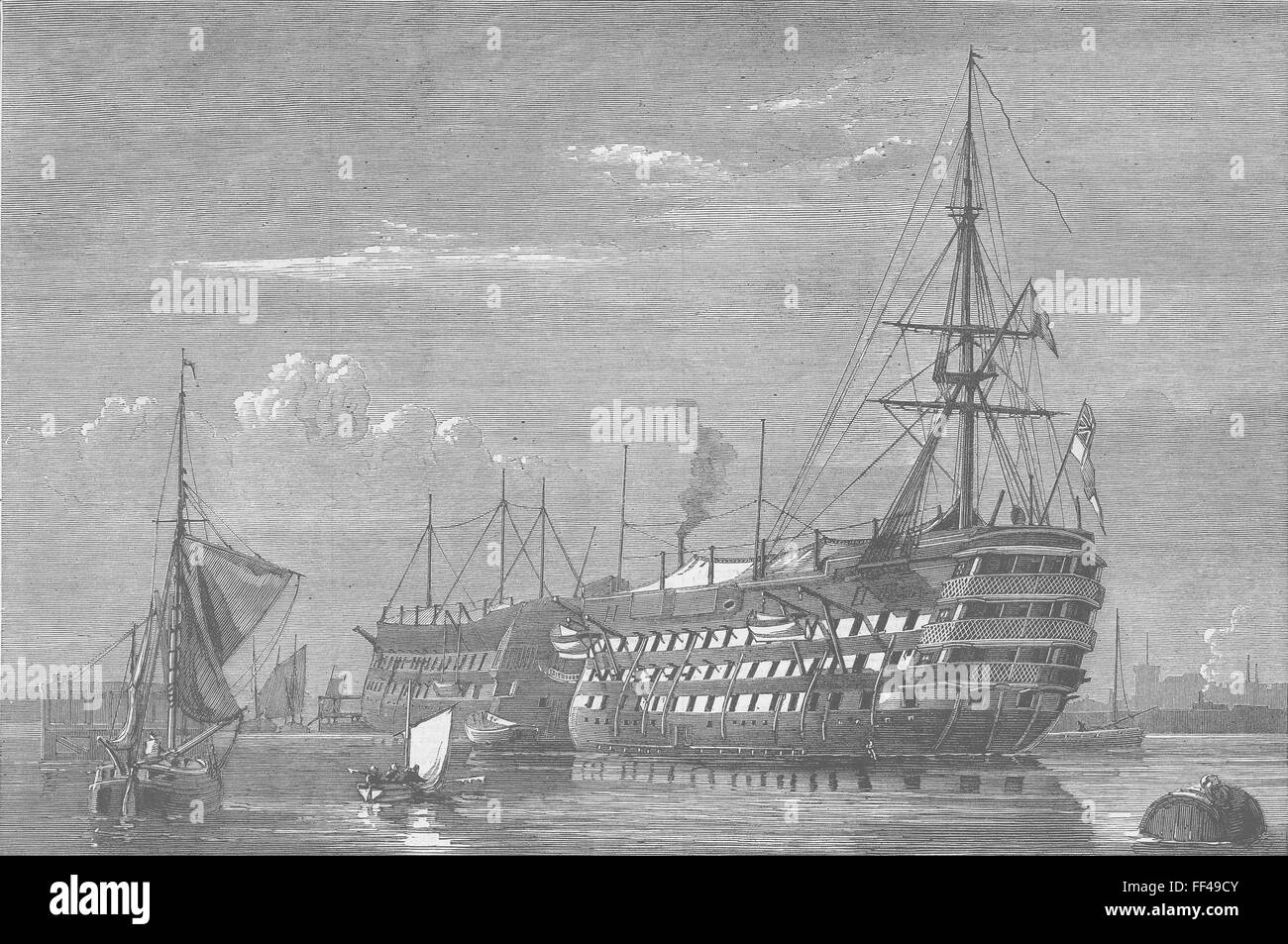HANTS HMS Excellent, Gunnery Ship, Portsmouth 1873. Illustrated London News - Stock Image