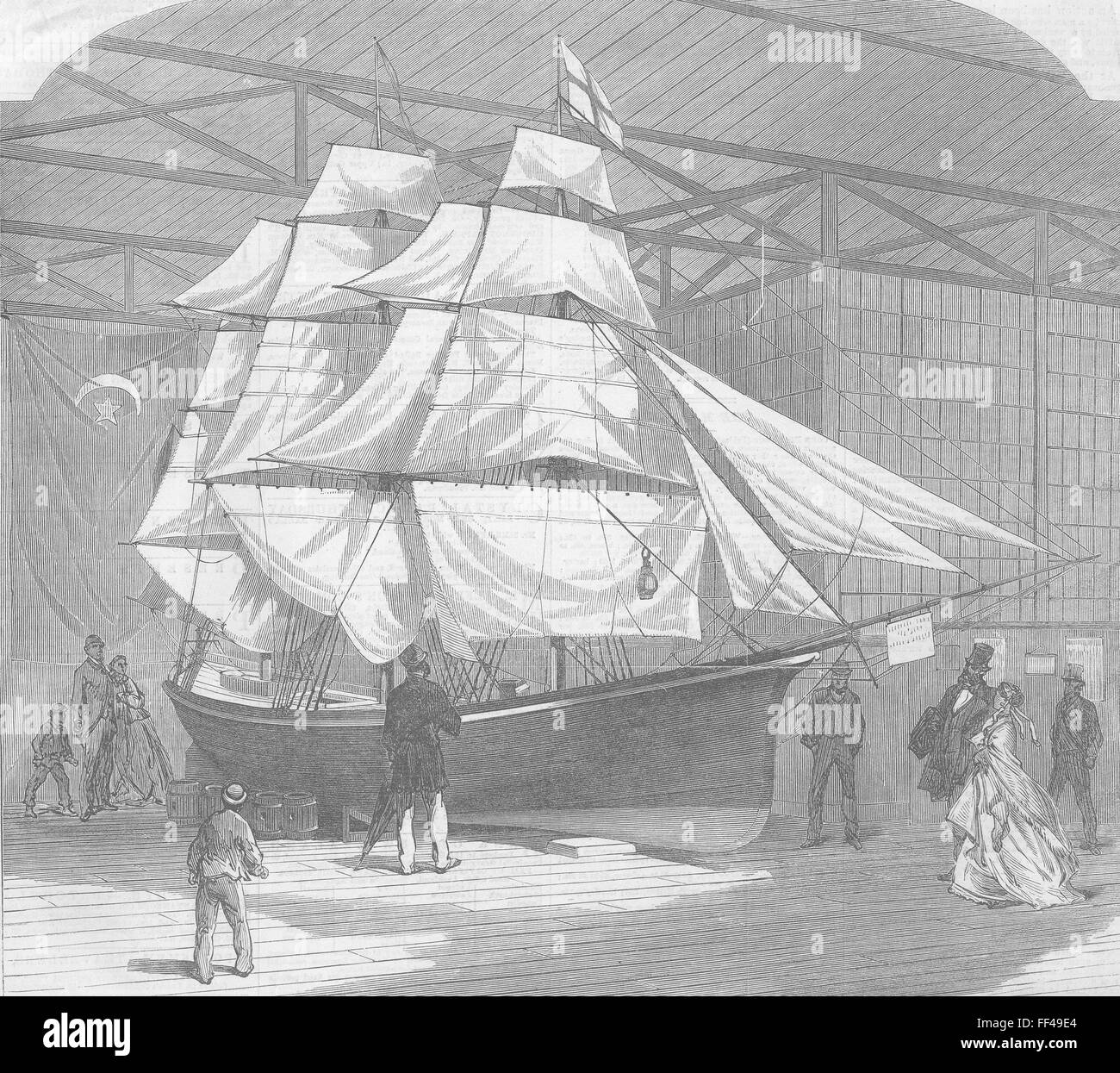 SHIPS Ship-rigged lifeboat which crossed Atlantic 1866. Illustrated London News - Stock Image