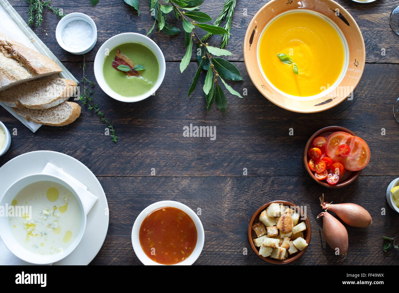 Tabletop food from above with space for copy - Stock Image