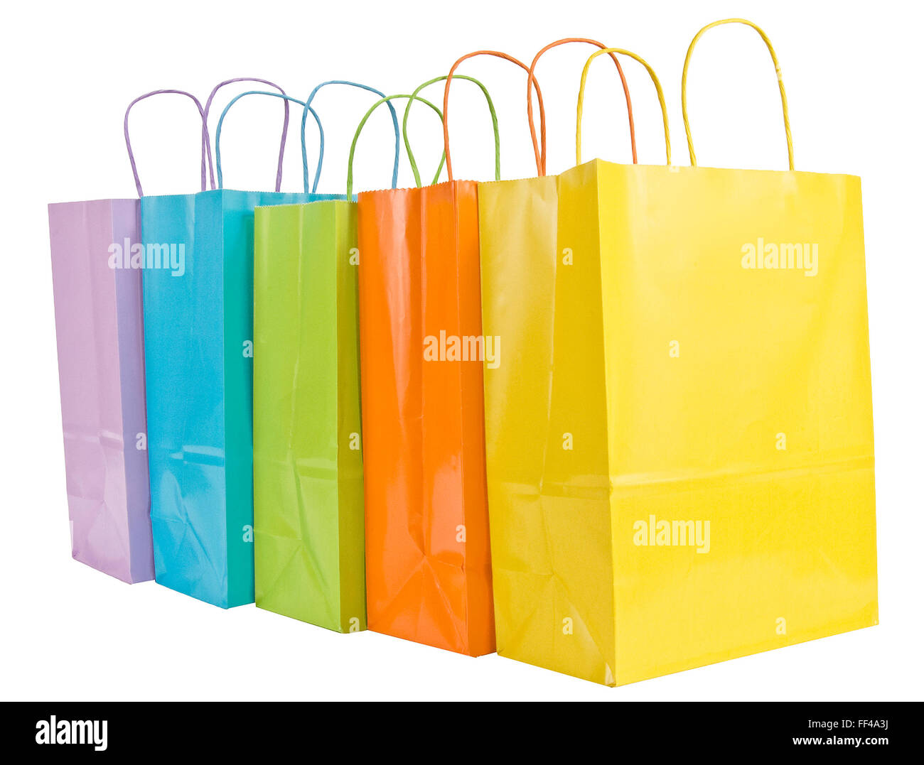 Five Pastel Shopping Bags With Handles - Stock Image