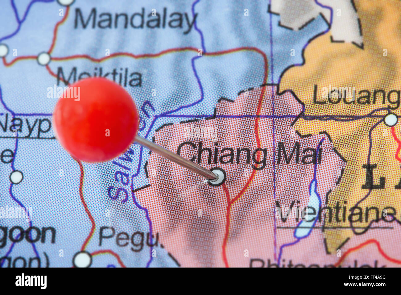 Close-up of a red pushpin in a map of Chiang Mai, Thailand ... on provinces of thailand, phuket province, mae taeng thailand map, koh yao noi thailand map, surat thani province, thanyaburi thailand map, nakhon phanom thailand map, koh samui thailand map, koh tao island thailand map, suratthani thailand map, nang rong thailand map, bophut thailand map, chiang rai, krabi province, phuket thailand map, wat phrathat doi suthep, wat pho thailand map, chiang mai zoo, doi inthanon thailand map, wat phra kaew thailand map, doi inthanon, kanchanaburi province thailand map, aranyaprathet thailand map, kanchanaburi province, uthai thani thailand map, northern thailand, doi suthep, thailand train service map, chiang rai province, phang nga province, chennai thailand map, khon kaen province, southern thailand, nan province, mae sai thailand map, grand palace thailand map,