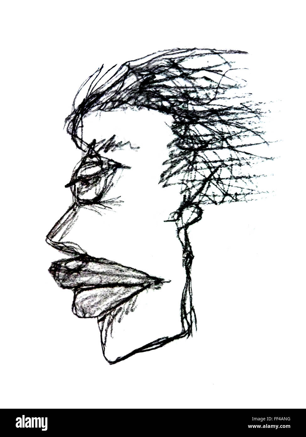 Pencil drawing technique raster illustration side view portrait of adult woman face with serious or angry expression in black co