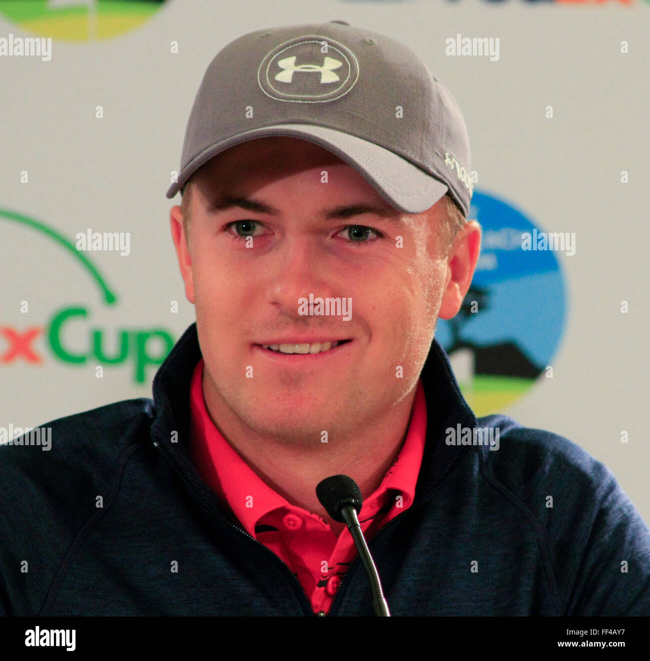 Jordan Spieth, (Texas) the World No.1 golfer talks with the press at the AT&T Pro-Am PGA Tour golf event at - Stock Image