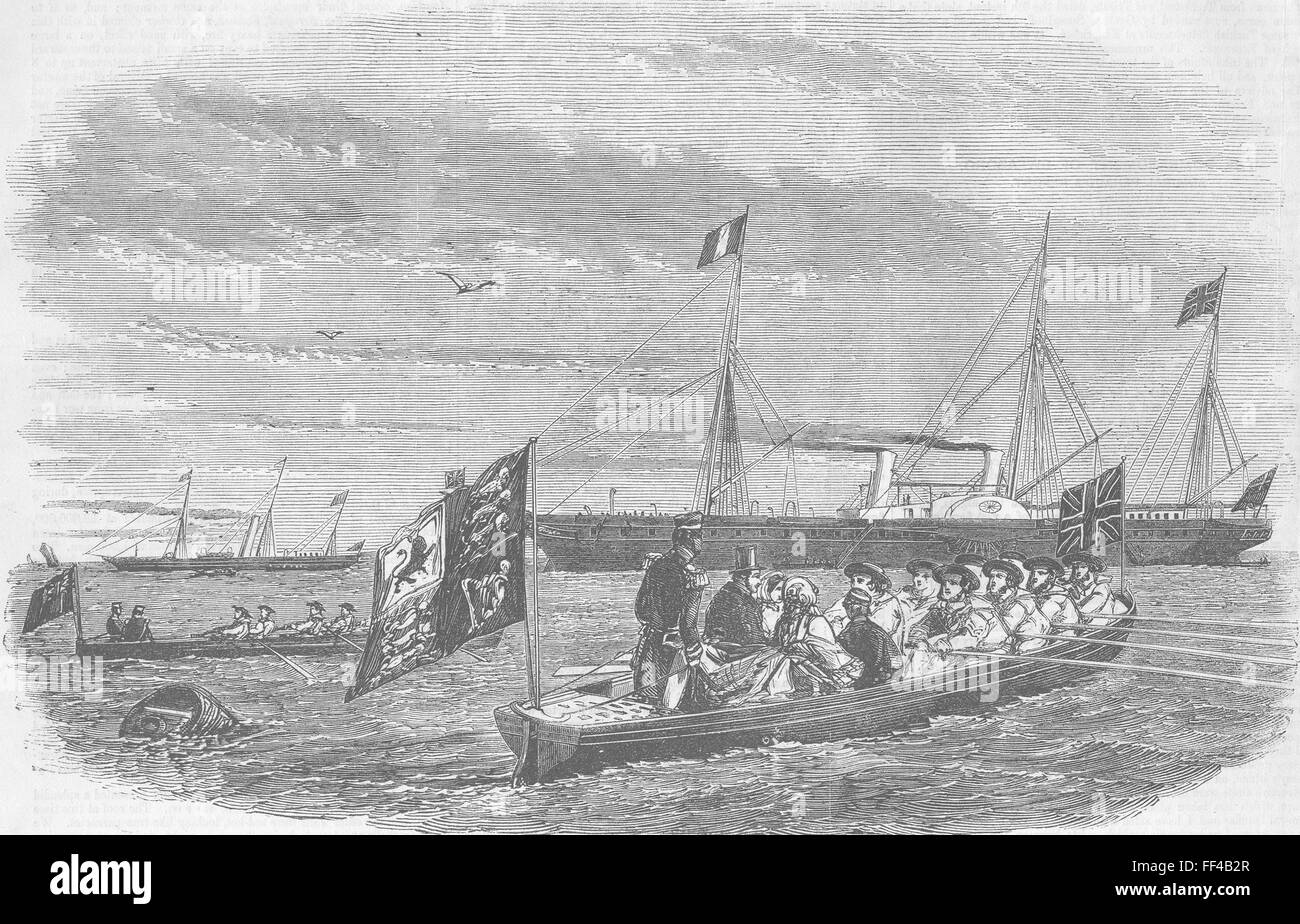 ROYALTY Royals boarding Victoria & Albert Yacht 1855. Illustrated Times - Stock Image