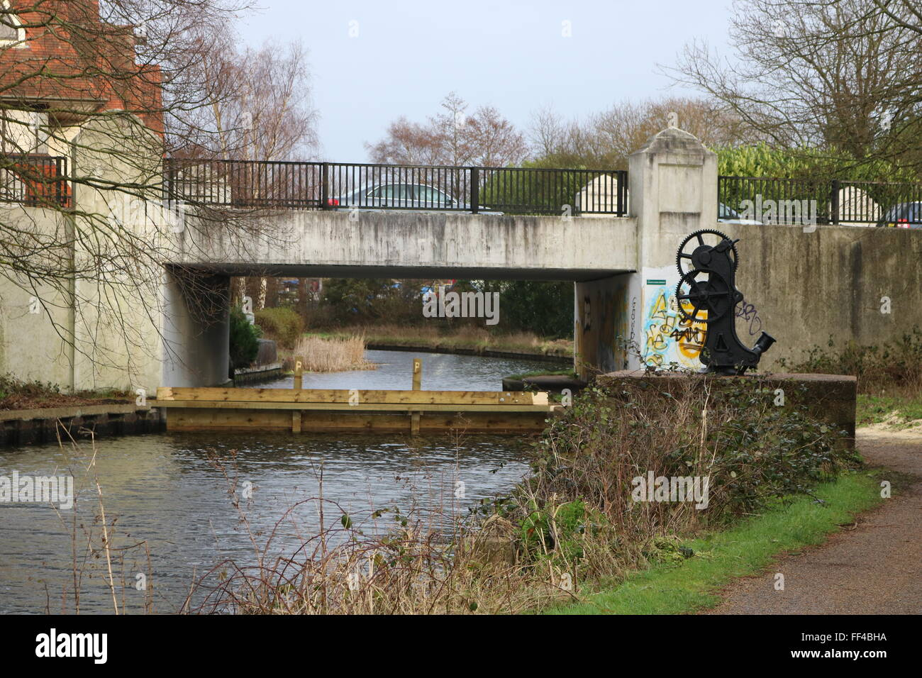 Monument Road Bridge, Basingstoke Canal, Surrey - Stock Image