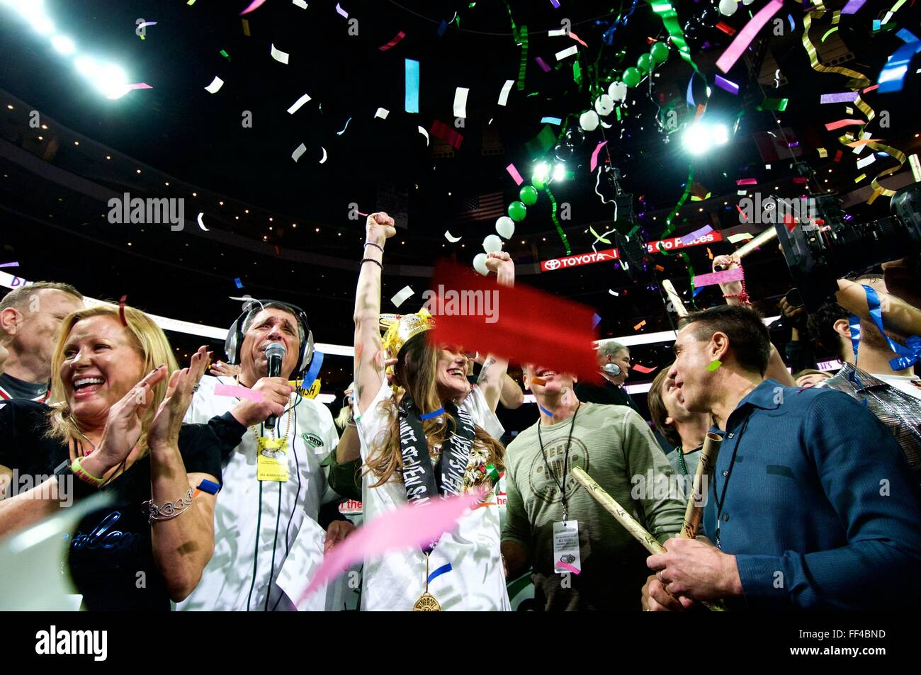 Competitive eater Molly Schuyler celebrates after winning Wing Bowl XXIV in Philadelphia, PA - Stock Image
