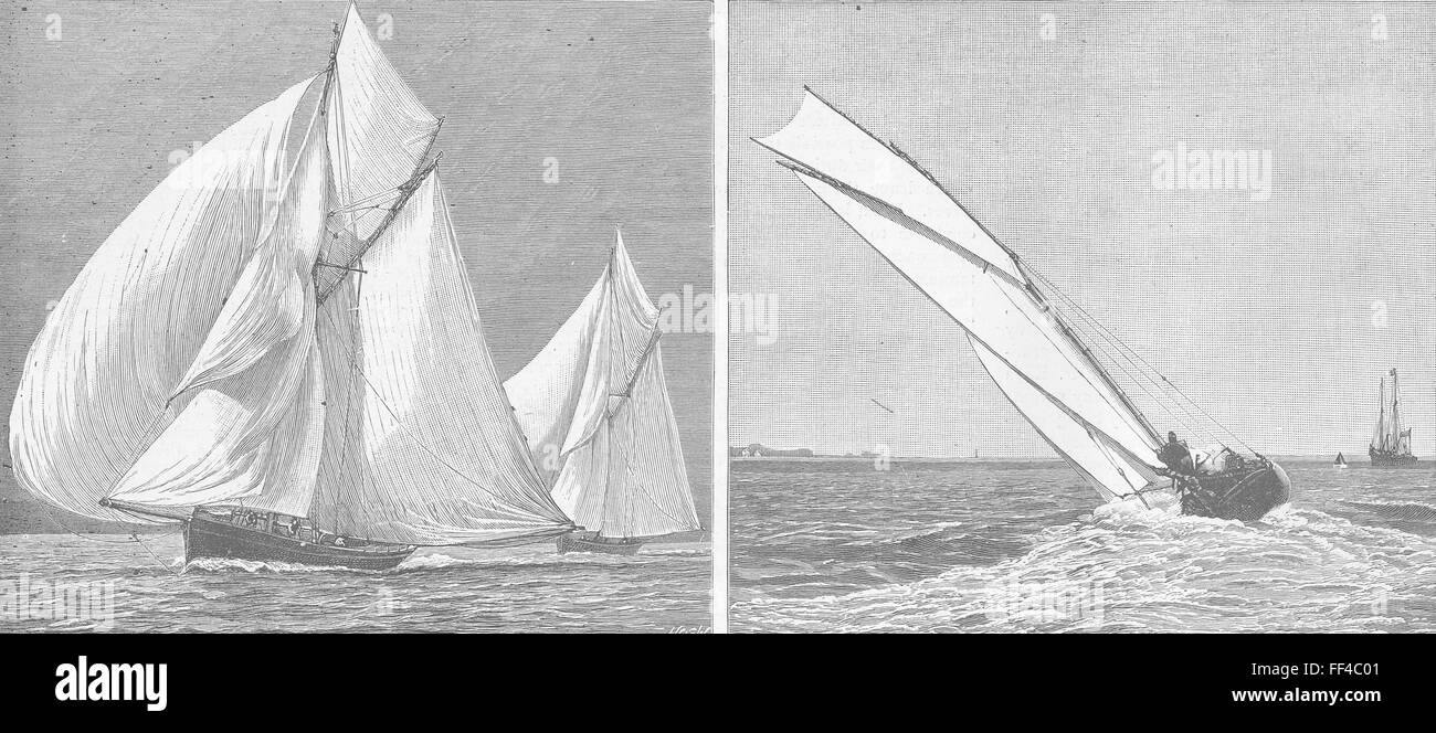 HANTS Racing Yachts photographed, Southsea 1887. Illustrated London News - Stock Image