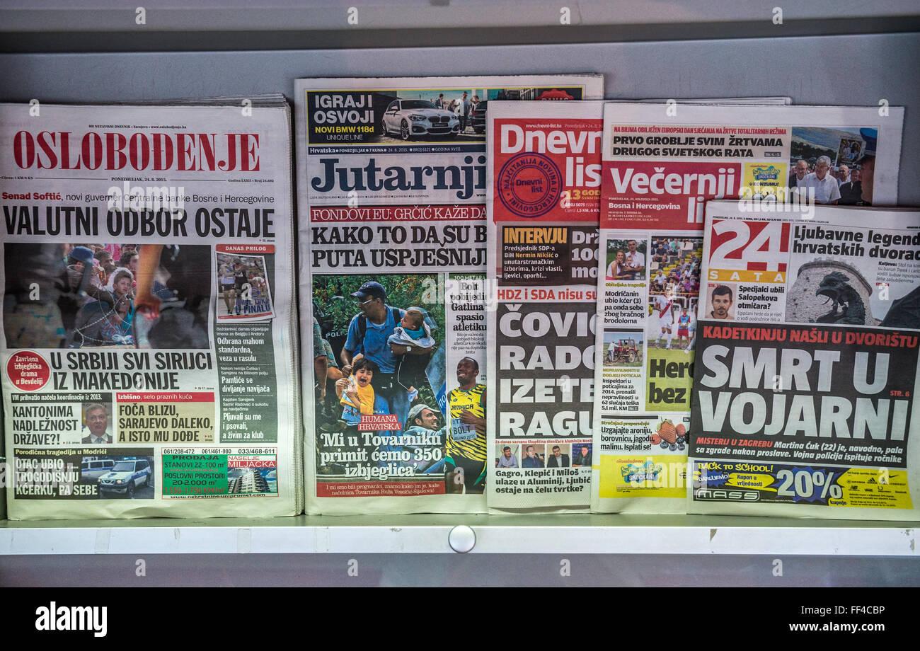 Bosnian newspapers in Sarajevo, Bosnia and Herzegovina Stock Photo