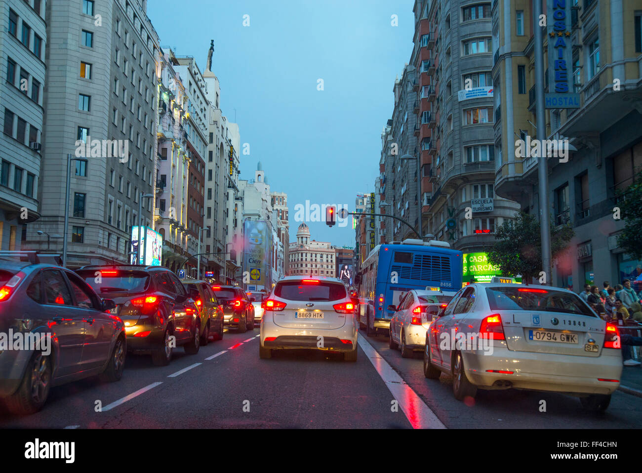 Traffic jam in Gran Via street at nightfall. Madrid, Spain. Stock Photo
