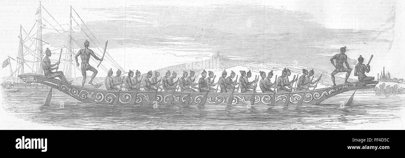 BURMA Boat 1852. Illustrated London News - Stock Image