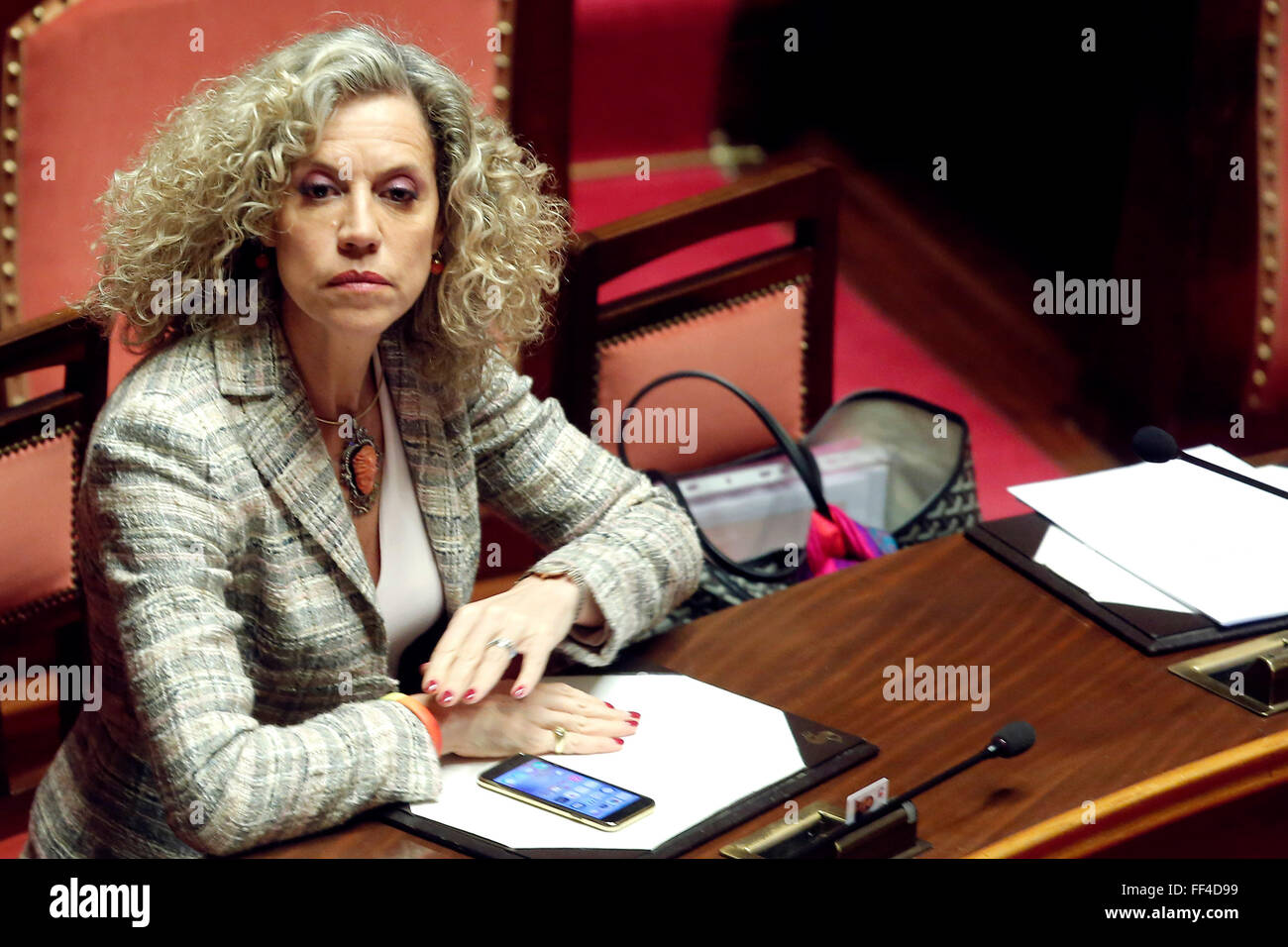 Rome, Italy. 10th February, 2016. Monica Cirinna'  Rome 10th February 2016. Italian Senate. Debate about the - Stock Image