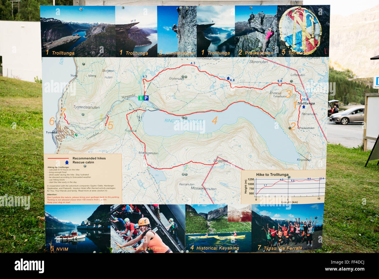 Tyssedal, Norway - August 4, 2014:   Route map near staring point to the mountain attraction - Trolltunga or Troll's Stock Photo