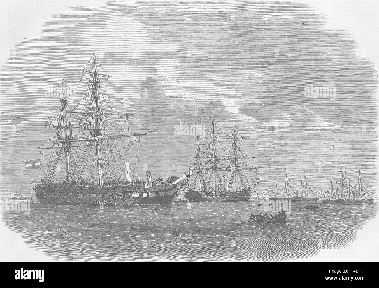 CUXHAVEN Austro-Prussian fleet, Heligoland defeat 1864. Illustrated London News - Stock Image