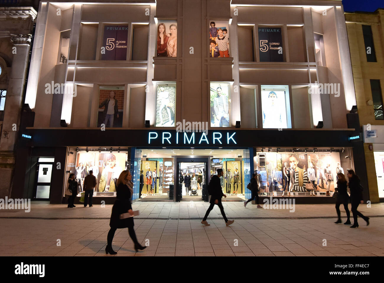 Primark retail store on Queen Street in Cardiff, South Wales. - Stock Image